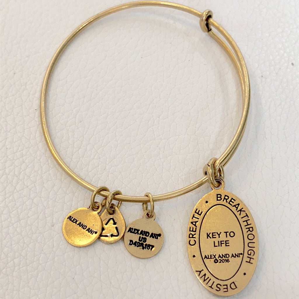 ALEX AND ANI Gold Key To Life Charm Bracelet NWT