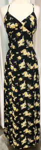 BOUTIQUE Black & Yellow Floral Print Maxi Dress Size M
