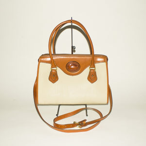 DOONEY AND BOURKE Chestnut and Cream Handbag With Crossbody Strap