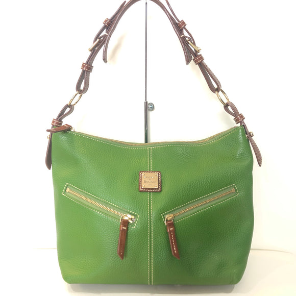 DOONEY & BOURKE Green Pebble Leather Hobo Handbag