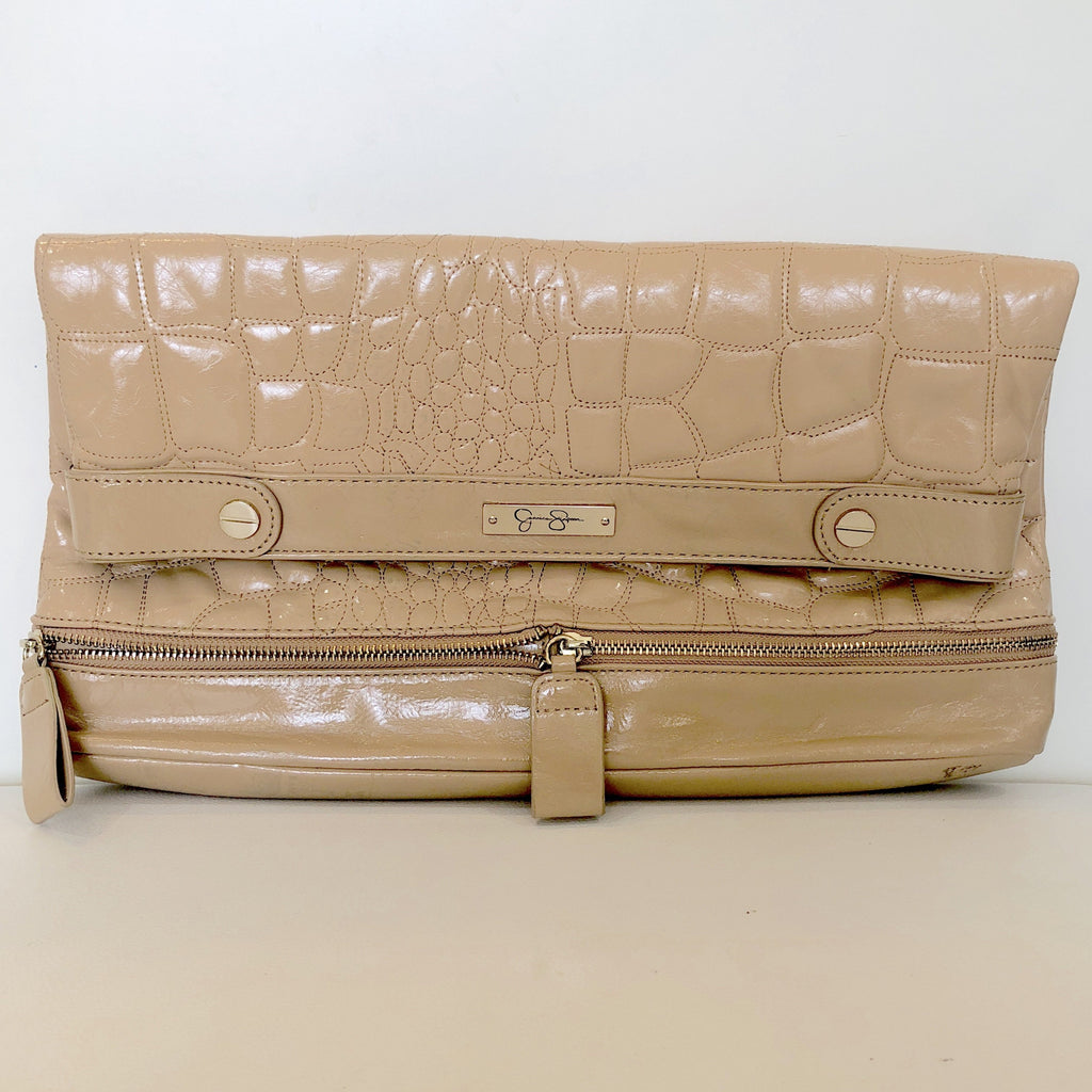 JESSICA SIMPSON Tan Patent Leather Clutch