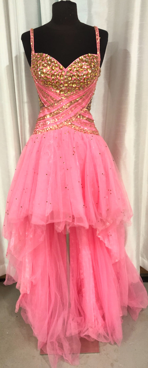 SHERRI HILL Pink High-Low Gown Size 2