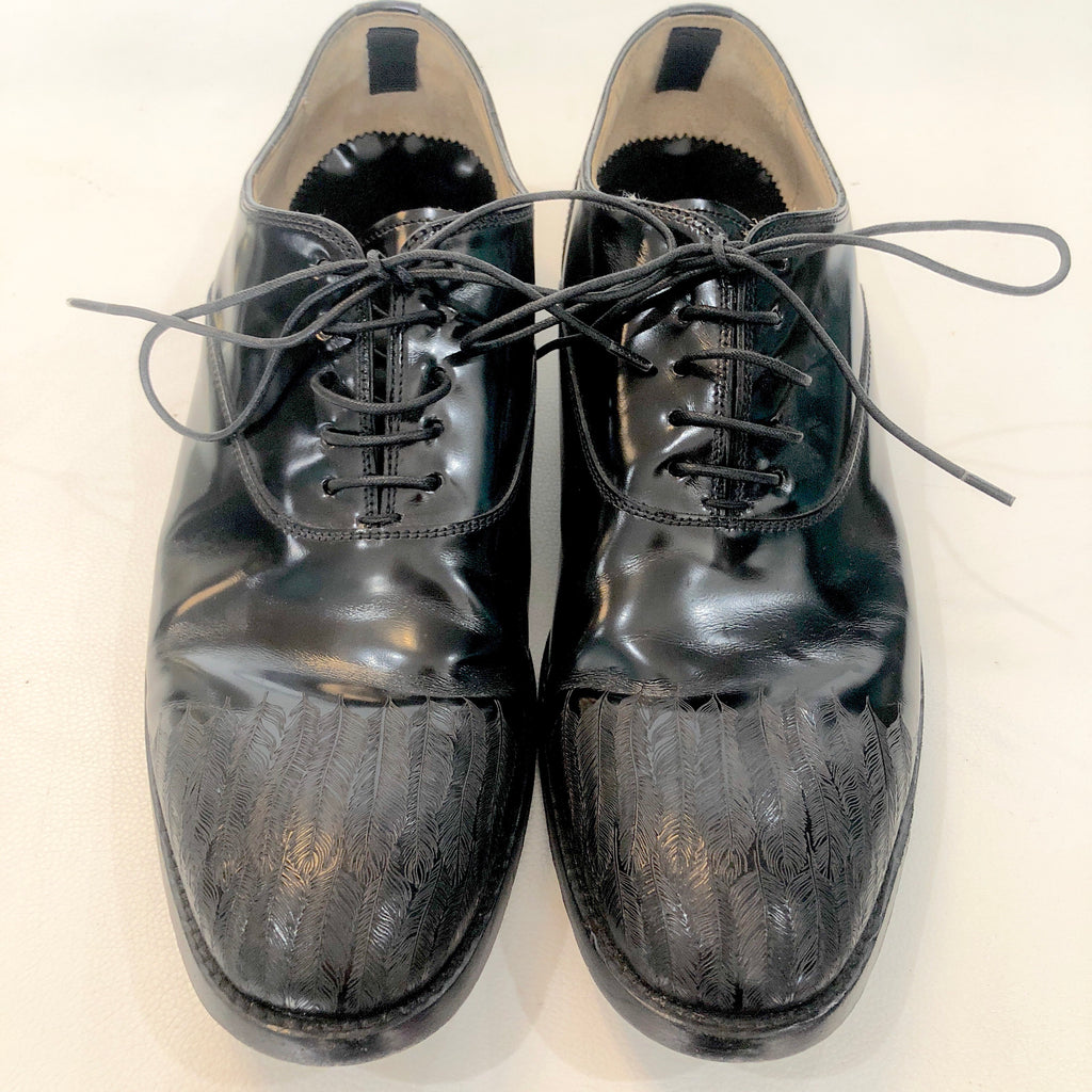 ALEXANDER MCQUEEN Black Engraved Feather Chelsea Lafitte Dress Shoe Size 44