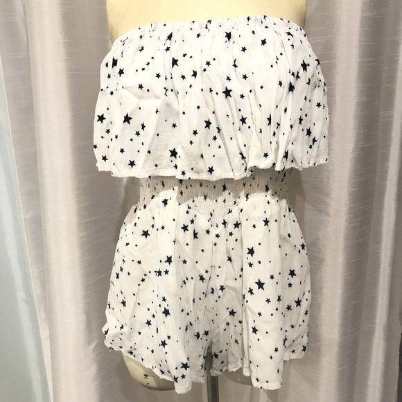 VICI White With Blue Stars Romper Size M