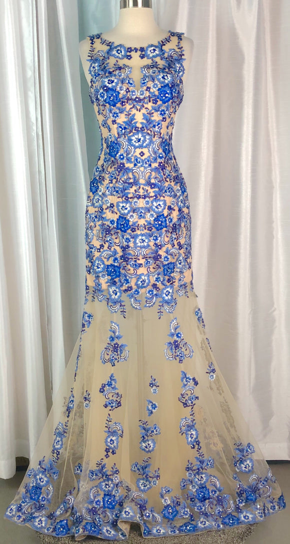 JOVANI NUDE & BLUE EMBROIDERED FLOWER GOWN SIZE 4