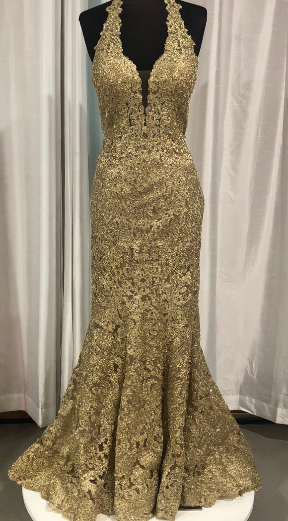 SHERRI HILL Long Gold Size 6
