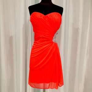 MORGAN & CO Short Neon Orange Gown Size 13/14