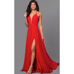 FAVIANA Red Low V-Neck Corset Back Long Dress