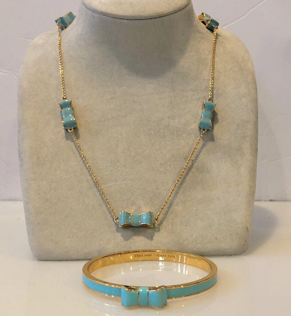 KATE SPADE GOLD AND TURQUOISE NECKLACE/BRACELET SET