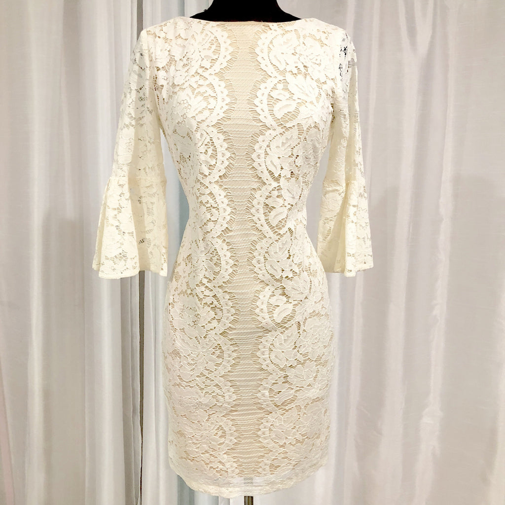 DANNY AND NICOLE Cream & Nude Lace Long Sleeve Gown Size 6 NWT