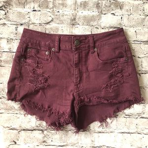AMERICAN EAGLE Maroon Distressed Stretch Jean Shorts Size 4