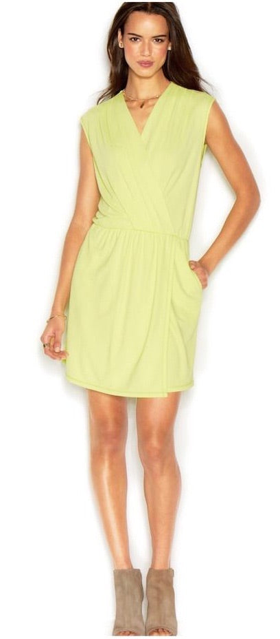 RACHEL ROY Chartreuse Short 24 Hour Draped Dress Multiple Sizes