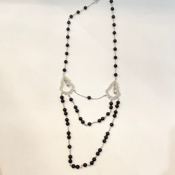 SWAROVSKI Black & Crystal Layered Necklace NWT