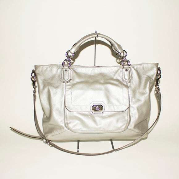 COACH Silver Shoulder Bag W/ Crossbody Strap