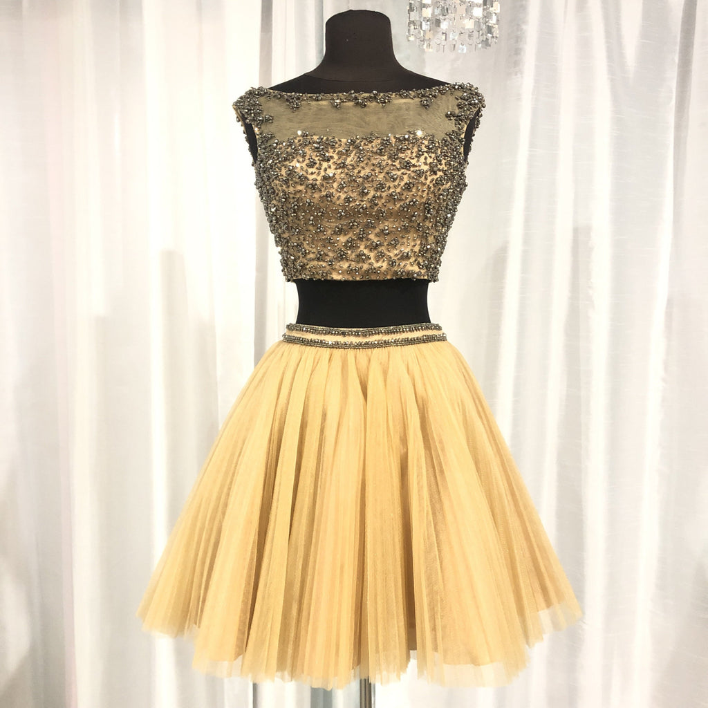 SHERRI HILL Short Nude & Gunmetal Two Piece Gown Size 0