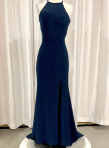 SHERRI HILL Long Navy Jersey Knit Gown Size 4