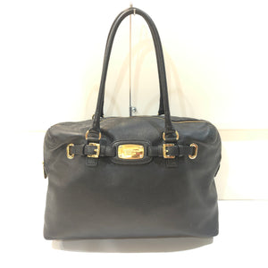 MICHAEL KORS Black Pebbled Leather Hamilton Weekender Satchel