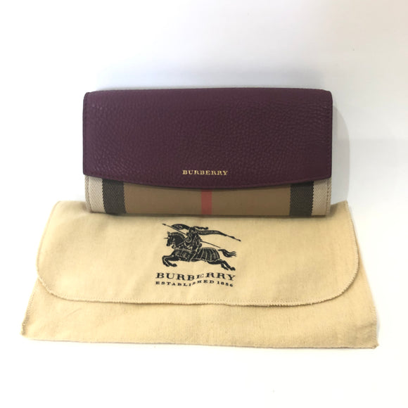 BURBERRY Wine Pebbled Leather & Novacheck Continental Wallet