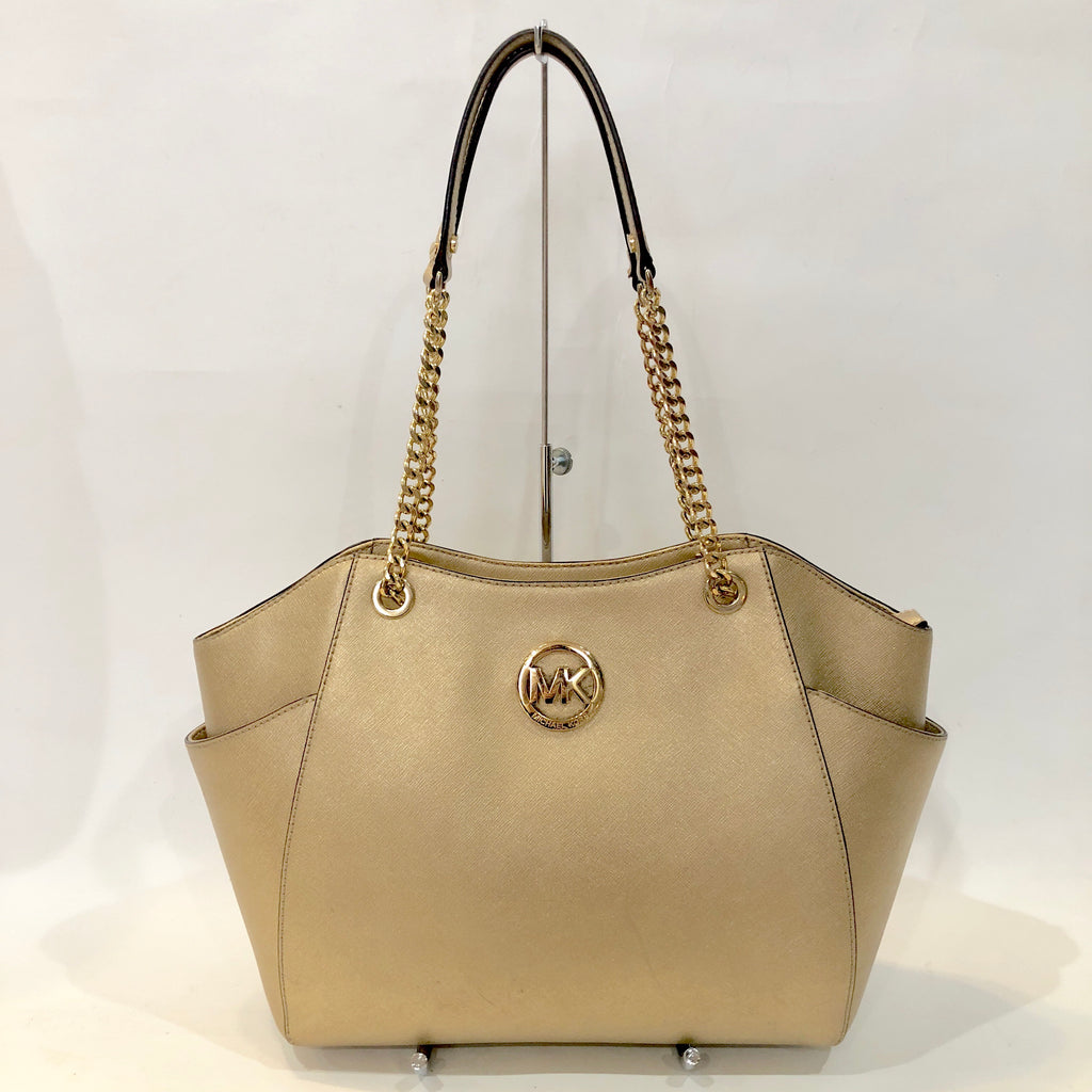 MICHAEL KORS Pale Gold Jet Set Travel Handbag