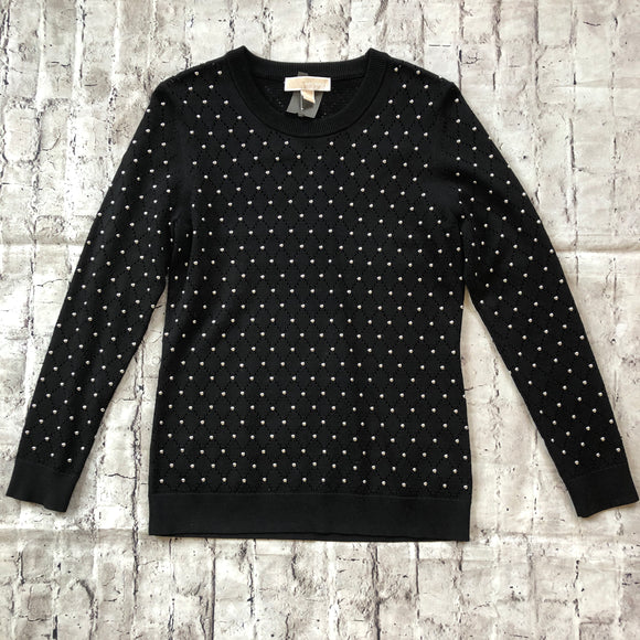 MICHAEL KORS ARGYLE STUDDED STRETCH-KNIT PULLOVER SIZE M