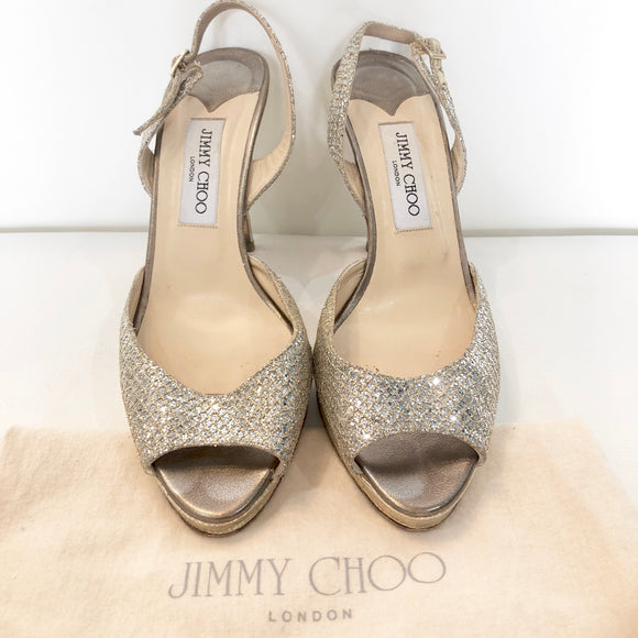 JIMMY CHOO Nova Slingbacks Glitter Fabric Champagne Pumps Size 40 (10)