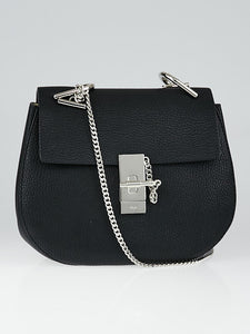 CHLOÉ Black Pebbled Leather Small Drew Bag