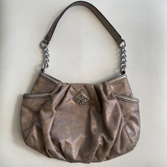 VERA WANG Tan & Gold Shoulder Bag