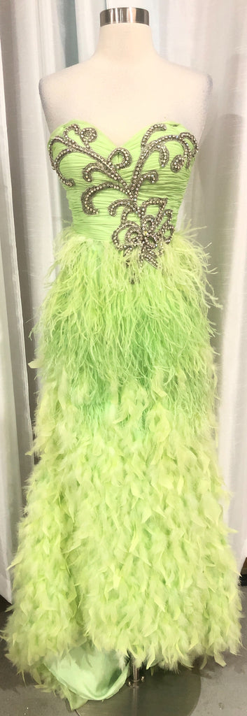 MAC DUGGAL Long Lime Strapless Feather Gown Size 0