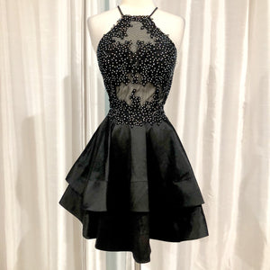 BLONDIE NITES Short Black Fit & Flare Gown Size 7