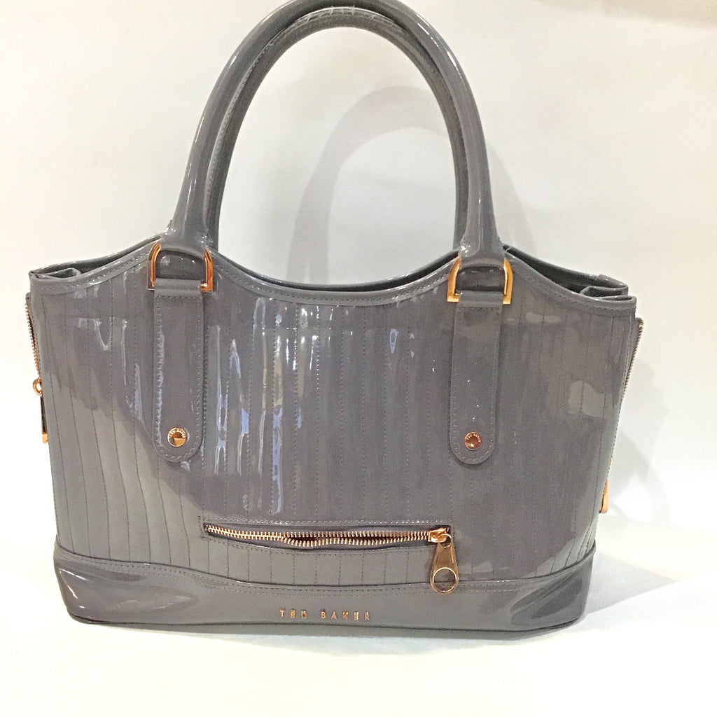 TED BAKER Gray Patent Leather Satchel
