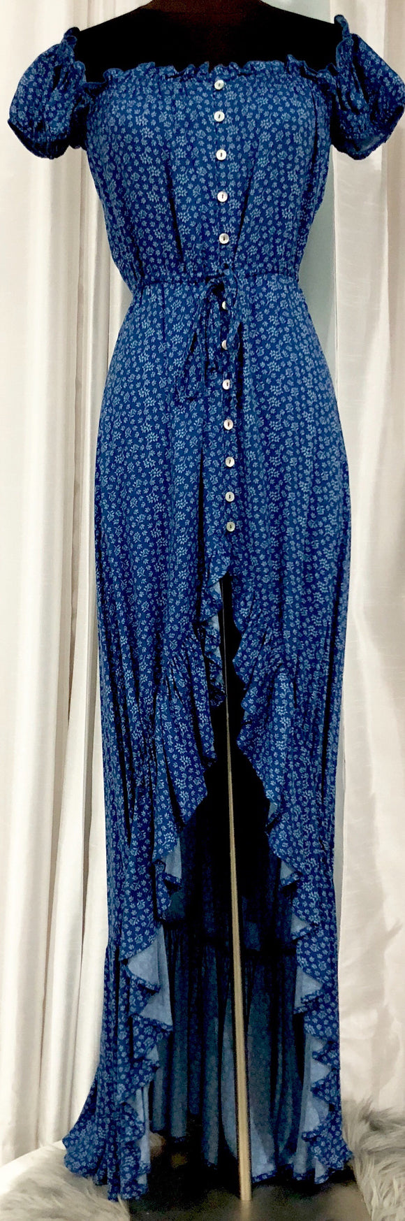 BOUTIQUE Blue Floral Button Up High-Low Maxi Dress Size S