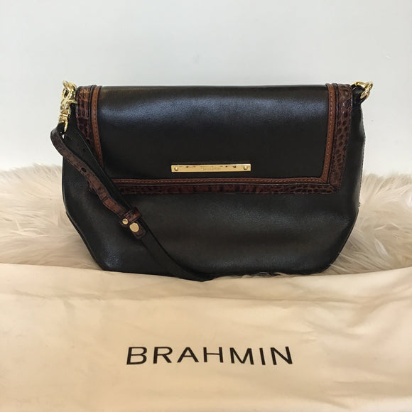 BRAHMIN CROSSBODY/ SHOULDER BAG TRIMMED IN BROWN CROCODILE