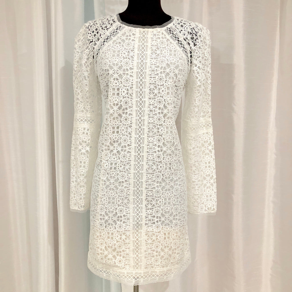 BCBG MAXAZRIA Short White Long Sleeve Dress Size S