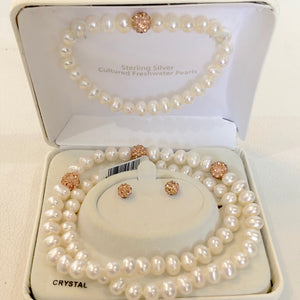 Cultured Fresh Water Pearls Earring, Bracelet, & Necklace Set NWT