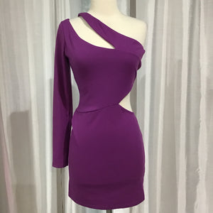 ASOS SHORT PURPLE ONE SLEEVE DRESS SIZE 6