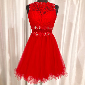 BOUTIQUE Short Red Two Piece Illusion Gown Size 0
