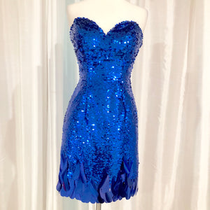 MORI LEE Short Royal Blue Sequin Gown Size 3/4