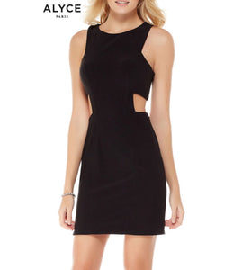 ALYCE Paris Short, Black, Scoop Neck, Racer Back, Side Cutout, Formal Wear