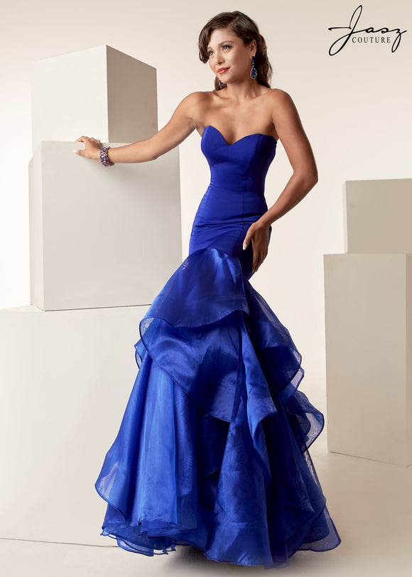 Jasz Couture Long Royal Blue Strapless Mermaid Gown Size 4