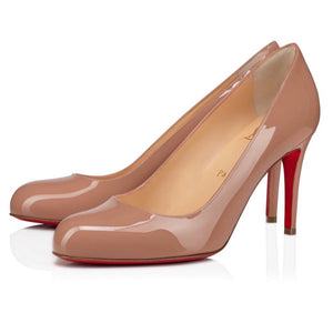 CHRISTIAN LOUBOUTIN Simple Patent Nude Heels Size 37.5