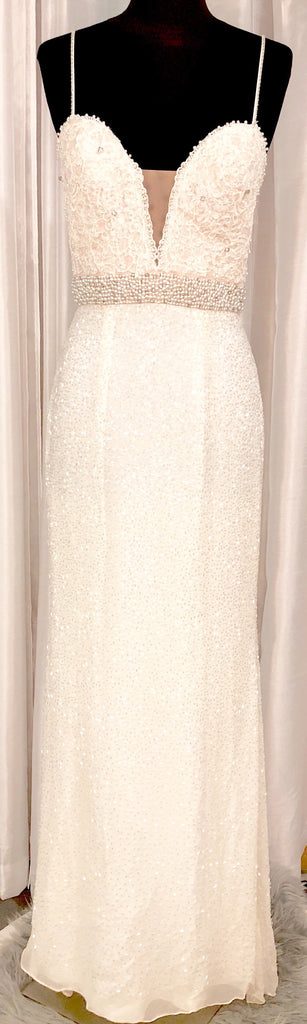 SHERRI HILL Long White Embellished Gown Size 6
