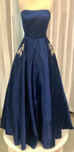 SHERRI HILL Long Navy Blue Satin Gown Size 10