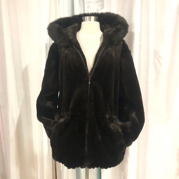 DONNYBROOK Brown Faux Fur Hooded Jacket Size XL