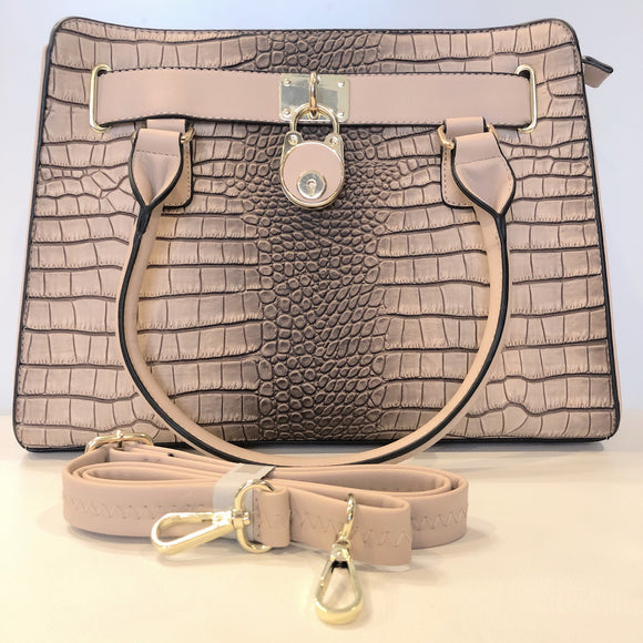 Crocodile Patterned Tan/Blush Satchel NWOT