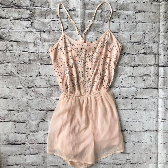 BOUTIQUE Light Pink Embellished Romper Size XS