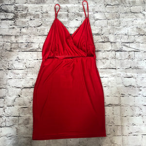 BOUTIQUE Red Strappy Plunge Bodycon Dress Size 6 NWT