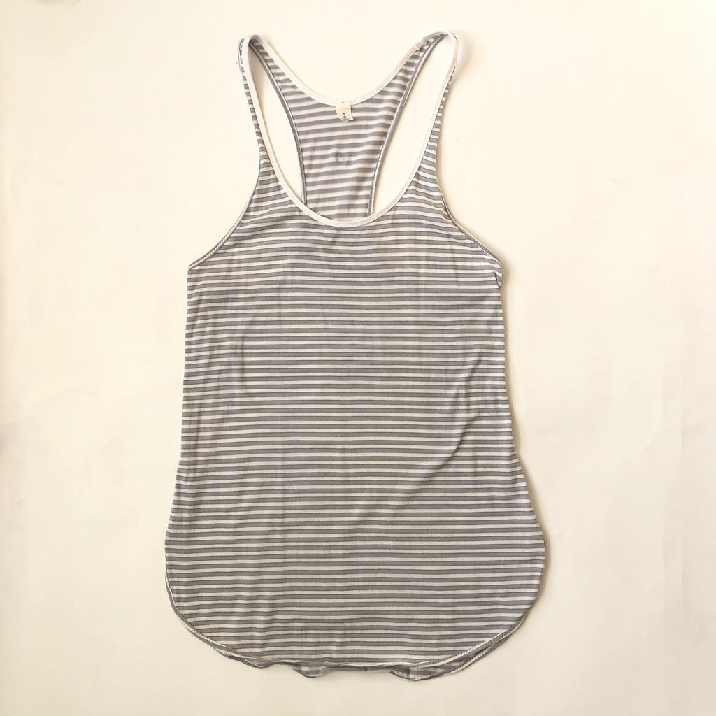 LULULEMON Gray & White Striped Racerback Tank Top Size 4