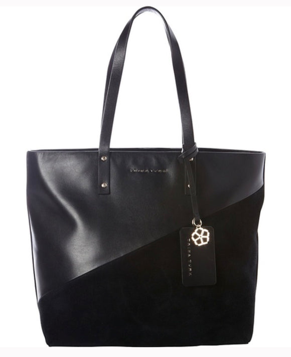 TRINA TURK BLACK LANEY CONTRASTING LEATHER TOTE DOUBLE SHOULDER STRAP