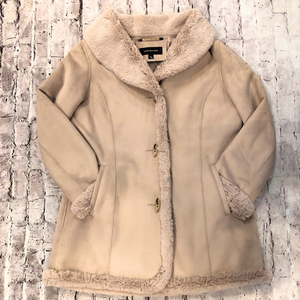 JONES NEW YORK TAN FAUX FUR AND SUEDE JACKET SIZE L