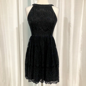 ALTAR'D STATE Short Black Lace Halter Gown Size XS